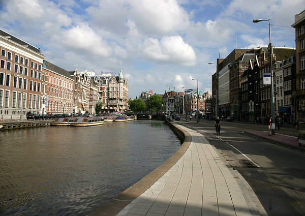 Along Rokin Canal and Street - to the Muntplein (Money Square), at the southern end of the Old Center district - Amsterdam