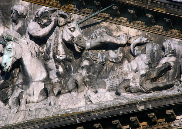 """""""Personification of Amsterdam"""" - the sculpted tympanum bas-relief on the Royal Palace - Amsterdam"""