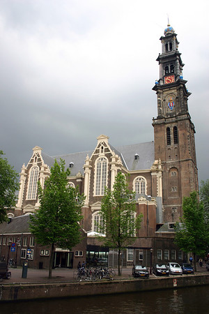 Westerkerk (West Church) - a Protestant Church constructed from 1620-1631, with the tower added in 1638, along the bank of the Peinsengracht (Prince's Canal) - in the Grachtengordel (Canal Ring) district - Amsterdam