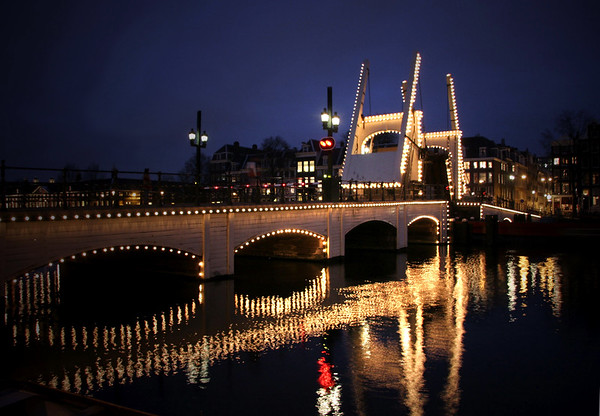 Magere Brug (Skinny Bridge) - drawn at night - Amsterdam