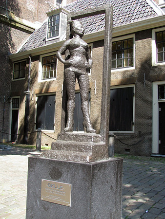 Belle - bronze statue located at the Oude Kerk (Old Church) - meant to show respect to the people around the world who earn their money via prostitution - Old Center district, Amsterdam