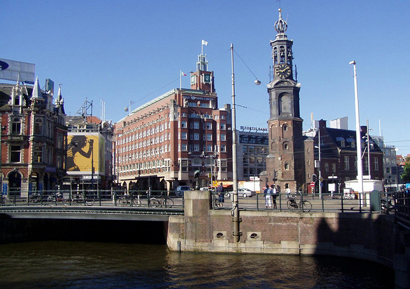Munttoren (Mint Tower) - built in 1620, with the carillon (bell tower) added in 1688 - here at the Muntplein (Mint Square), where the Amstel River and the Singel Canal meet - Amsterdam