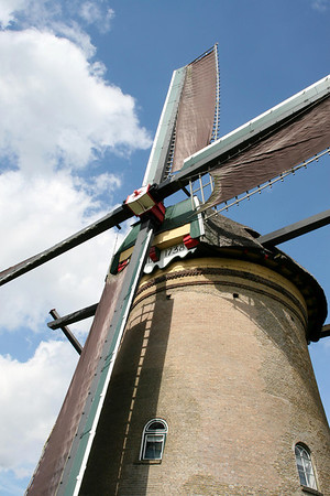 """Up the """"Sweep"""" of a mid 18th century windmill - Kinderdink - South Holland province"""
