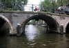 Through the arched bridges above the canal system of Amsterdam