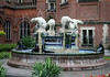 Danish Fountain donated by Greenland in1923, made of glazed porcelain (rather ironic that polar bears are predators to both fish and seals) - located in the courtyard at the Peace Palace - The Hague - South Holland province
