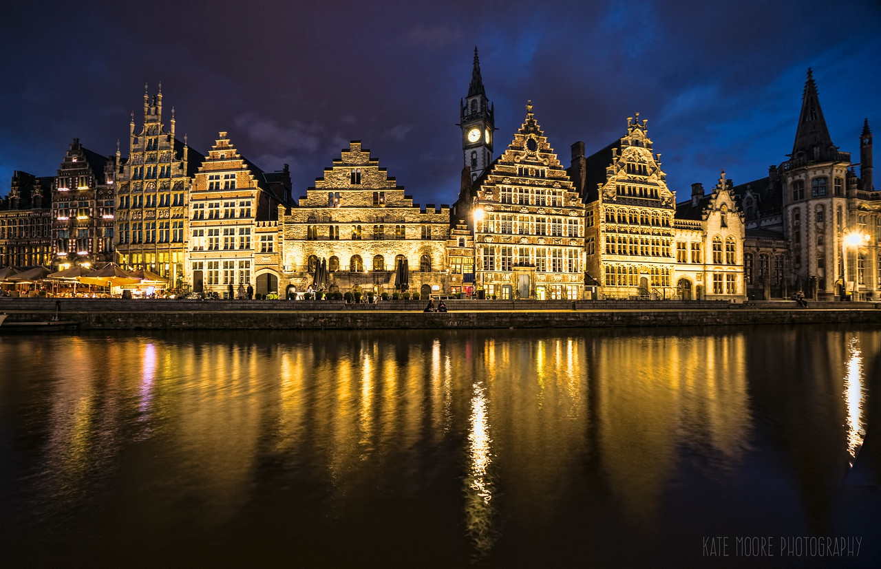 Ghent, Belgium at twilight