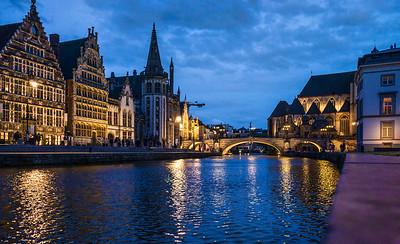 Ghent, Belgium, dusk