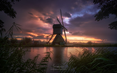 Rainy sunset in kinderdijk