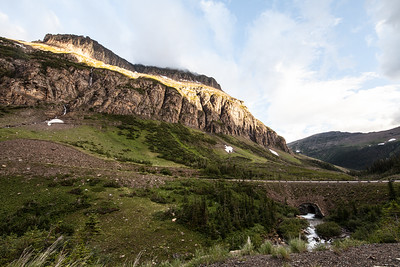 Landscape-mountains-and-bridge-Glacier-National-Park-Montana-golden-glow-(c)-bolio-photography