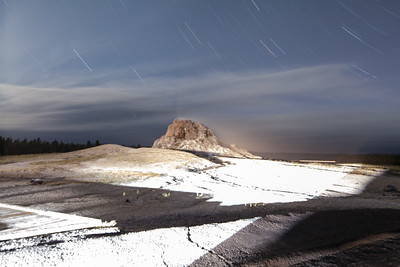 Night-Scenic-Sleeping-Geyser-with-star-trails-Yellowstone-National-Park-Wyoming-(c)-Bolio-Photography