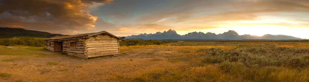 A prairie cabin and the mountains