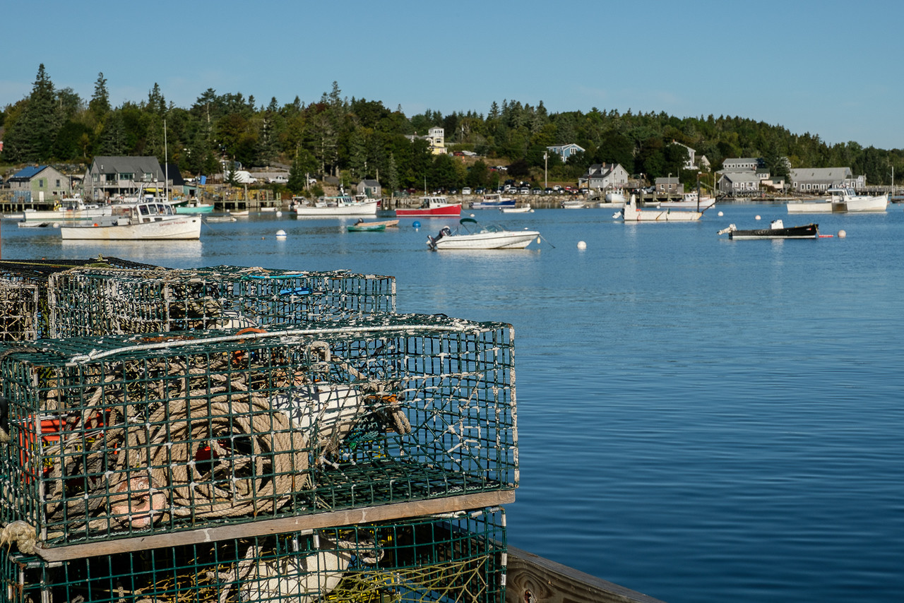 Lobster Pots and Boats in Tremont Harbor in Maine