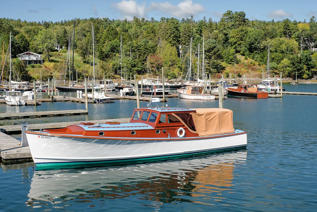 Classic Wooden Pleasure Boat in Harbor