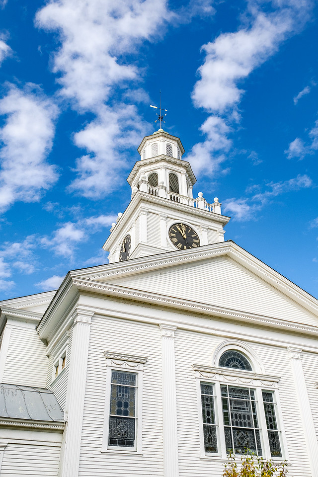 Steeple and Blue Sky of the First Congregationsal Church in Woodstock Vermont