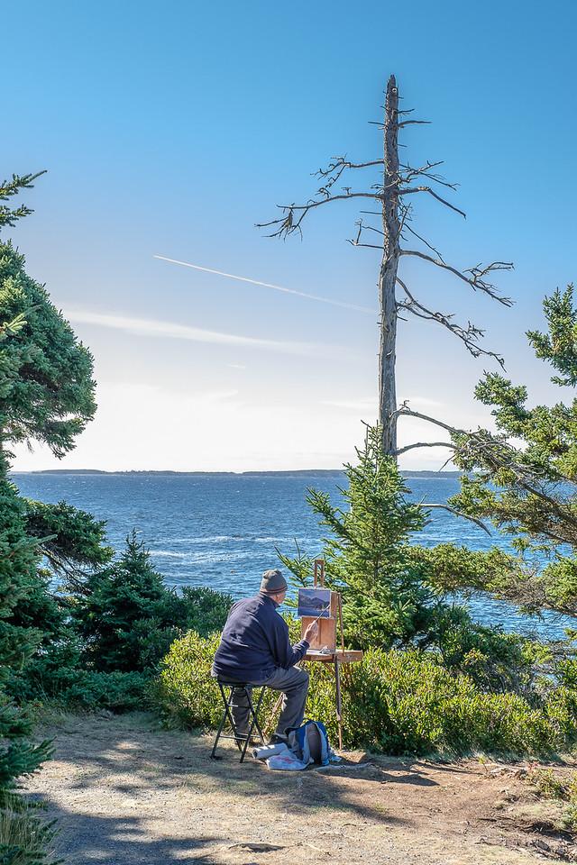 Artist Painting Scene in Acadia National Park