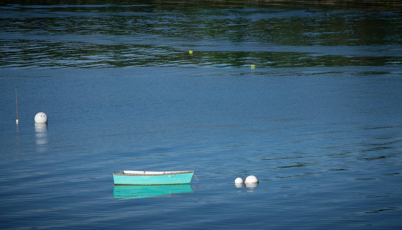 Teal Rowboat Moored in Tremont Harbor