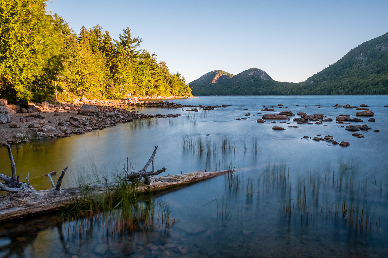 Early morning and still waters at Jordan Pond in Acadia National Park.