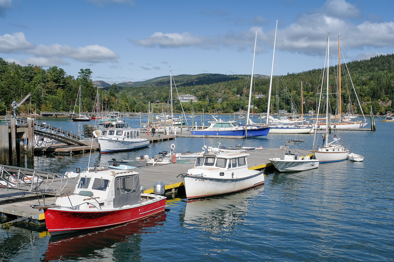 Boats Moored in Southeast Harbor Maine