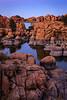Watson Lake just after sunset in Prescott, Arizona.