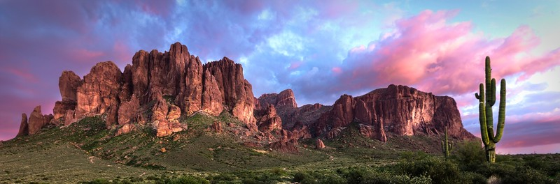 The Superstition Mountains at sunset, east of Phoenix, Arizona.