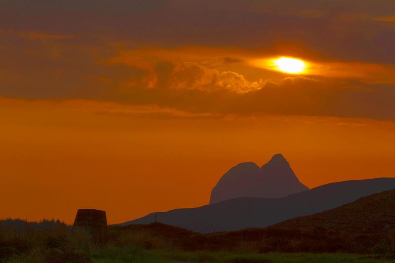 Sunset over the Mountain of Suilvan. Scotland.