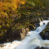River Feugh in Spate. Aberdeenshire.