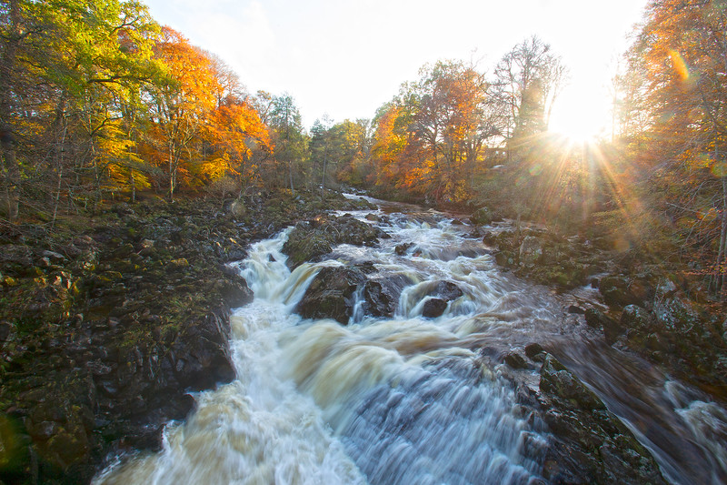River Feugh in Spate. Aberdeenshire.