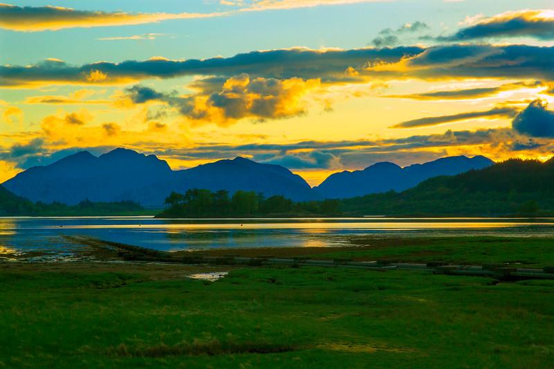 Sunset from Glencoe Village Scotland.