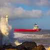 Boat leaving Aberdeen Scotland Harbour.
