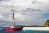 Red Sailboat in the Caribbean