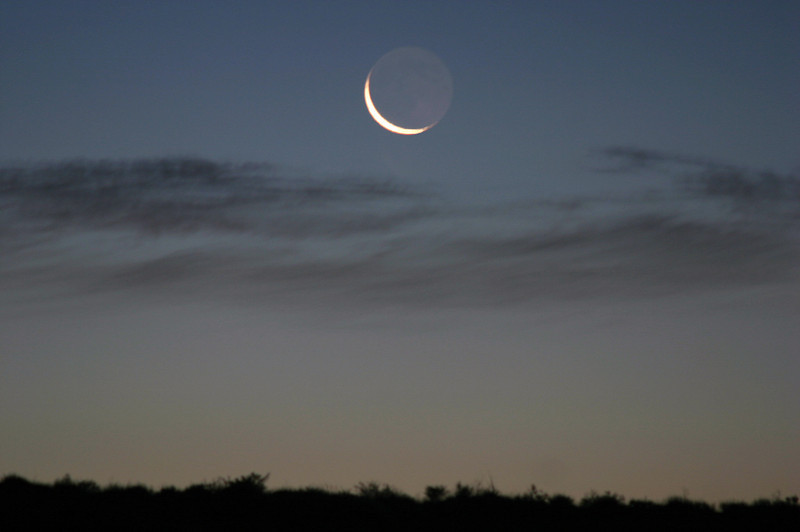Waning moon at dawn, from Gallo Wash - Chaco Culture National Historical Park