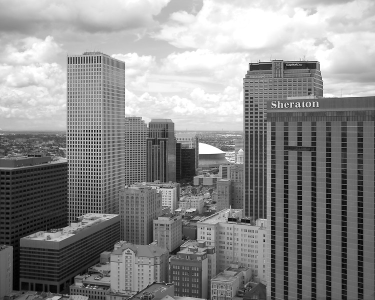 New Orleans downtown skyscrapers and Super Dome black and white photography