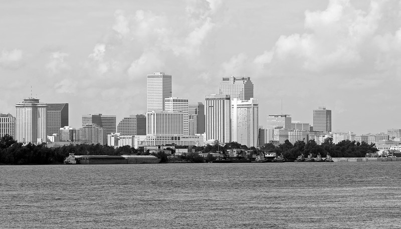 New Orleans black and white Skyline from across the river