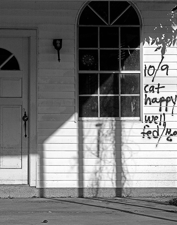 Note on House in New Orleans after Katrina that Cat Happy, Fed, and Watered