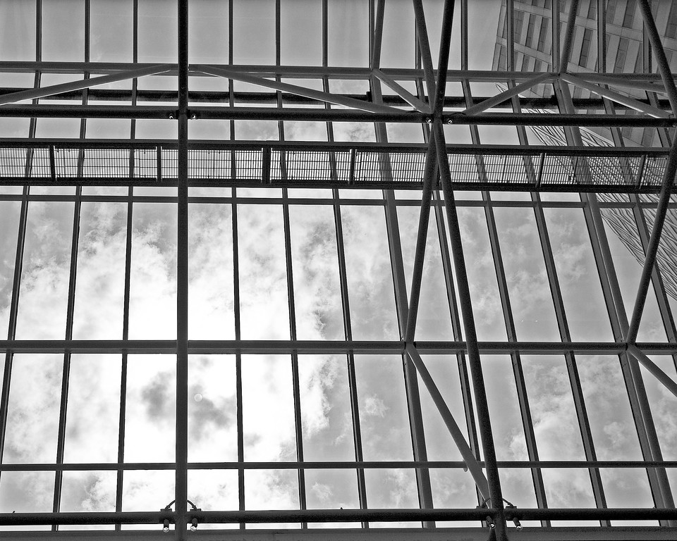New Orleans skylight architectural photography black and white