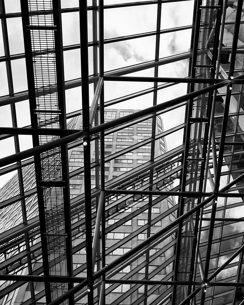 New Orleans Skyscraper through skylight black and white architectural photograph