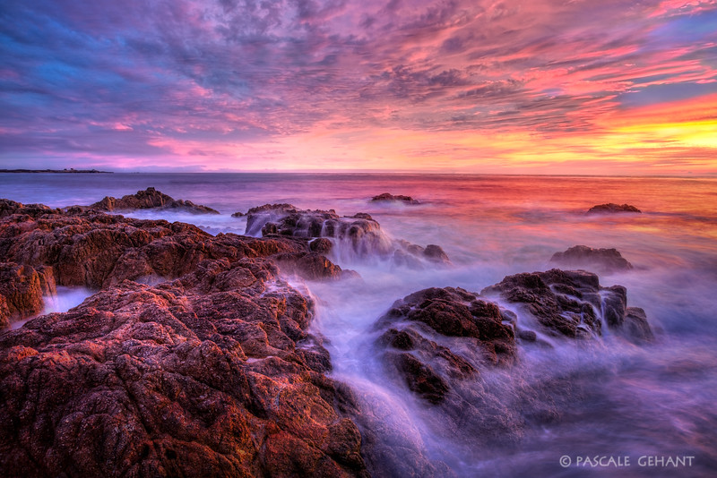 Rocks and ocean at sunset 2