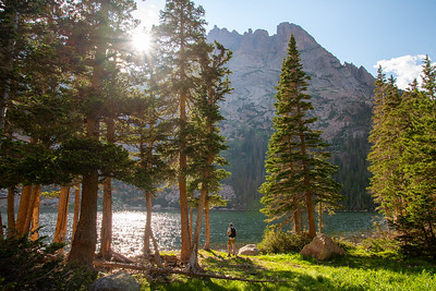 The Sharktooth rises above Black Lake in Rocky Mountain National Park in Colorado.