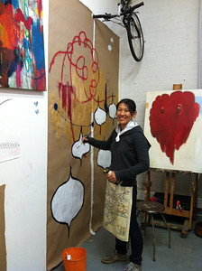 an artist and her work at the Gowanus Art District Open Studio weekend