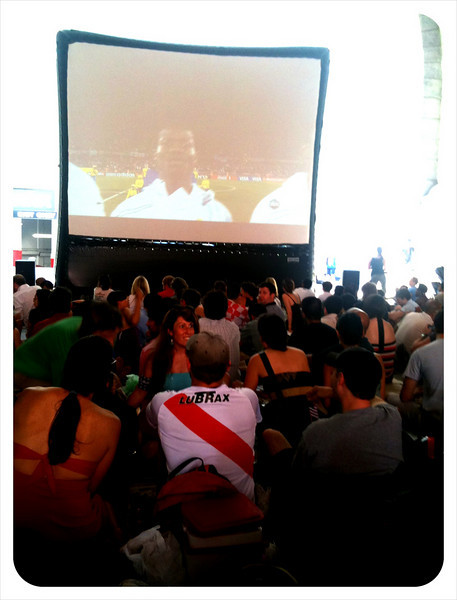 New Yorkers gathered to watch the World Cup under the Manhattan Bridge