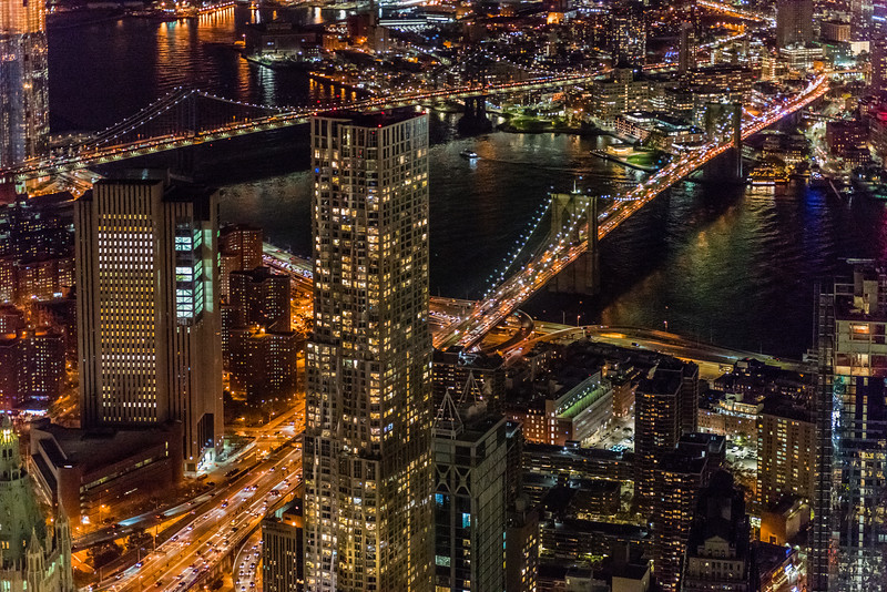 Manhattan & Brooklyn Bridges at Night