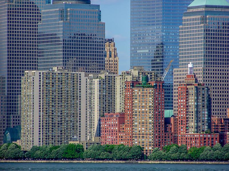 Lower Manhattan Skyscrapers Dwarf the Trees Below