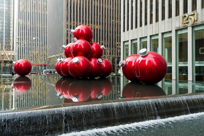 Giant Christmas ornaments - 1251 Sixth Avenue (Exxon Building)