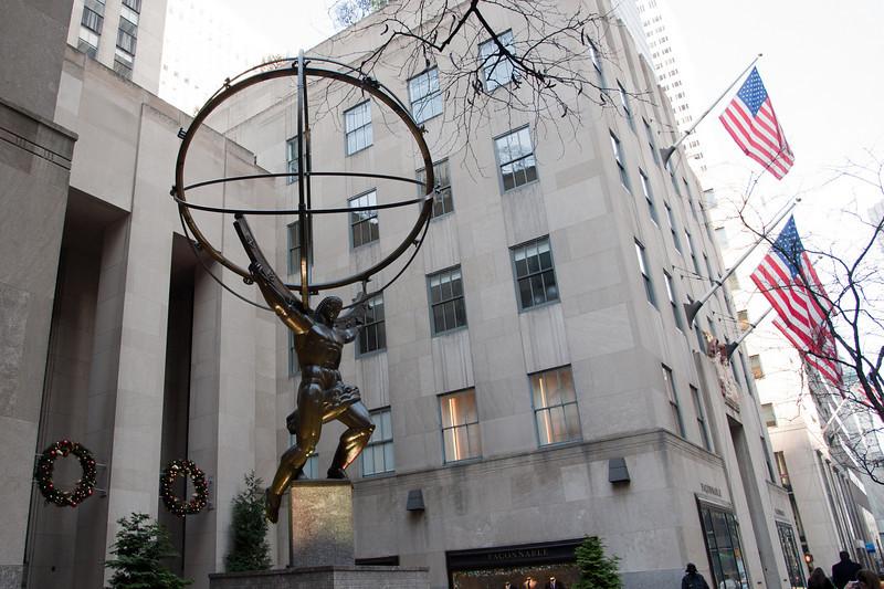 Atlas is a bronze statue in front of Rockefeller Center