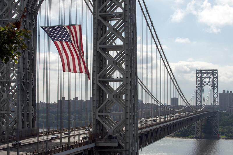 The American flag draped - GW Bridge - July 4, 2013