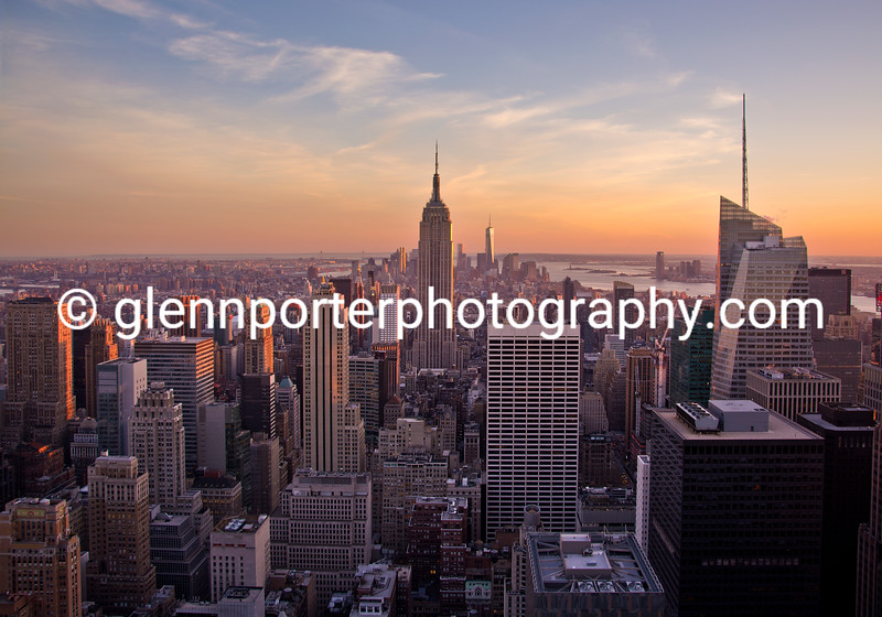 New York Sunset - taken from the top of the Rockefeller building.