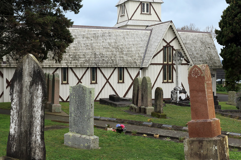 All Saints Church (Anglican) - established in 1847 - the first parish church in Auckland, including the graveyard - located in Howick town - North Island.