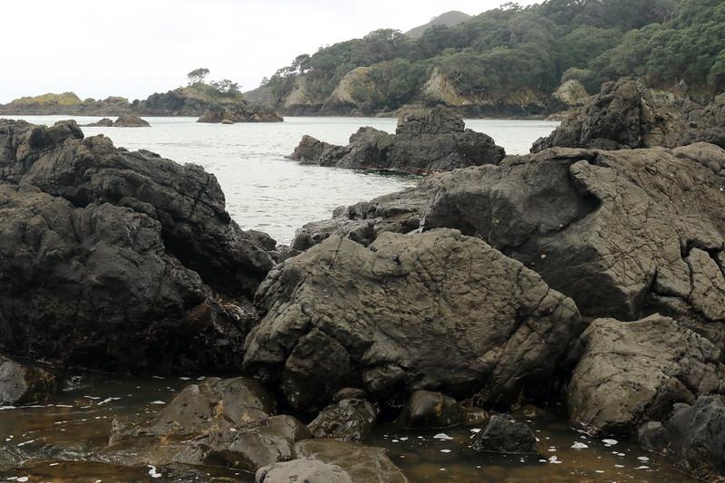 Volcanic basalt rock shoreline during late-ebb tide along the Mangaroa Range - out to the lichen cloaked volcanic rock islets at Tohora Pirau - Gisborne (East Cape) region.