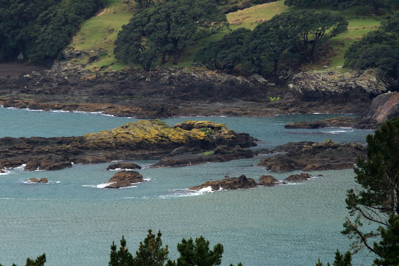 Lichen cloaked volcanic rock islets at Tohora Pirau during late-ebb tide - located just south of Lottin Point (Wakatiri), the northernmost point of the Raukumara Peninsula - Gisborne (East Cape) region.
