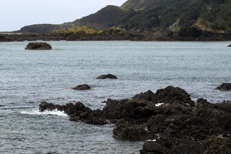 Volcanic rock shoreline along the northern slope of the Mangaroa Range - viewing northward beyond the Tohora Pirau islets, towards Lottin Point (Wakatiri) - Gisborne (East Cape) region.